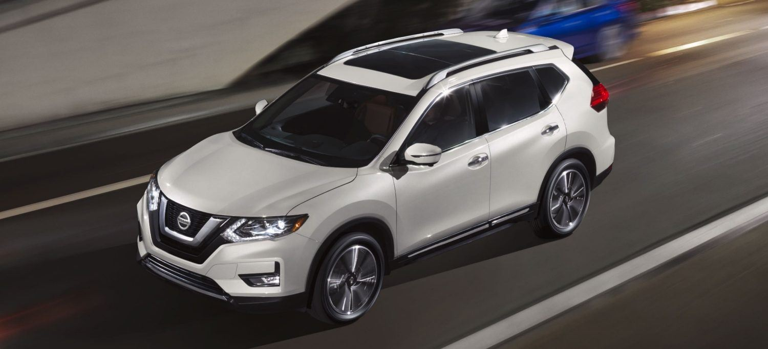 exterior shot of 2020 nissan rogue in white